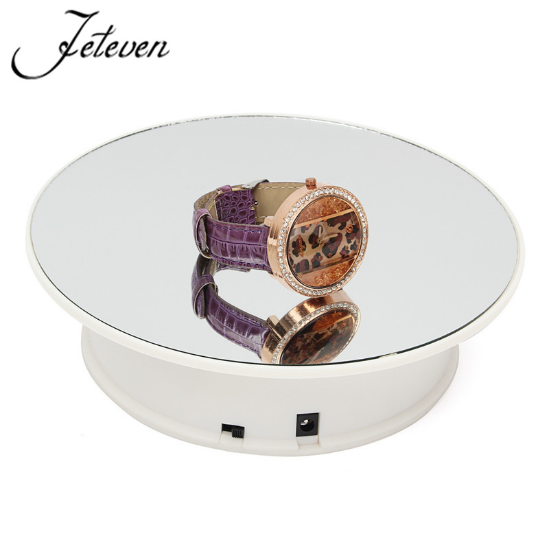 360 Degree Electric Rotating Turntable Display Stand Max Load 9.7g 20cm Rotary Ear Rings Bracelets Watch Mirror Showing Holder