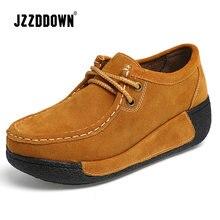 Jzzddown женская обувь из натуральной кожи замша на платформе