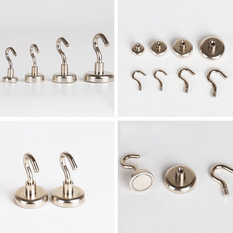 10pcs Magnetic Hanging Hooks N35 Neodymium Strong Rare Earth Magnet Hanger Home Storage Hook Kitchen Wall Hanging Hook fixmee 50pcs white plastic invisible wall mount photo picture frame nail hook hanger