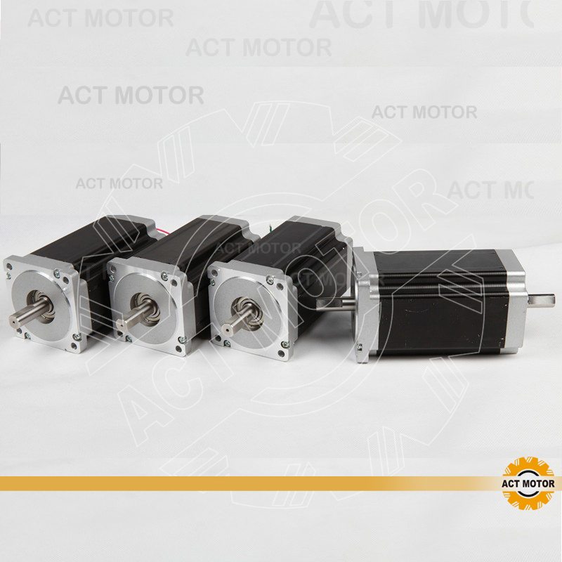 ACT Motor 4PCS Nema34 Stepper Motor 34HS5435B Dual Shaft 1600oz-in 3.5A Dual Flat Shaft CE ROHS ISO CNC Router Foam Automation