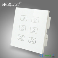NEW 6 Gang Dimmer Switch 110V 250V Wallpad Luxury White Crystal Glass Panel 6 Buttons Control 2 Dimmerable Lamps Wall Switch LED
