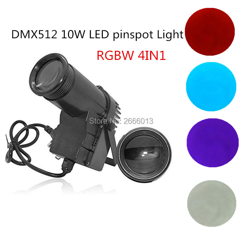 Professionnal Spotlight Stage Effect Pinspot LED Light 10W 6CH RGBW Auto / DMX DJ Lighting 10W 4in1 Beam lights for disco Party