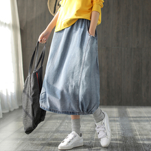 Werainyee Spring Autumn Women Large size Denim skirt Ladies Elastic Waist pocket