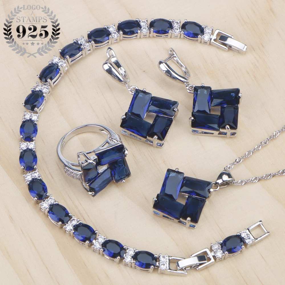 Blue Cubic Zirconia Costume Jewelry Sets Bridal Women Silver 925 Jewelry Ring Bracelet Pendant Earrings and Necklace Set Gifts viennois new blue crystal fashion rhinestone pendant earrings ring bracelet and long necklace sets for women jewelry sets