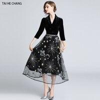 women dress autumn designer elegant vestidos slim bodycon formal vintage party runway velvet black mesh long work dress