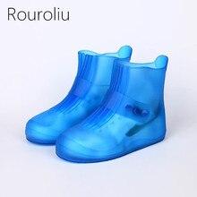 Rouroliu Simple Fashion PVC Waterproof Shoes Covers Unisex Thick Bottom Non-Slip Hard-Wearing Rain with Buckle RT242