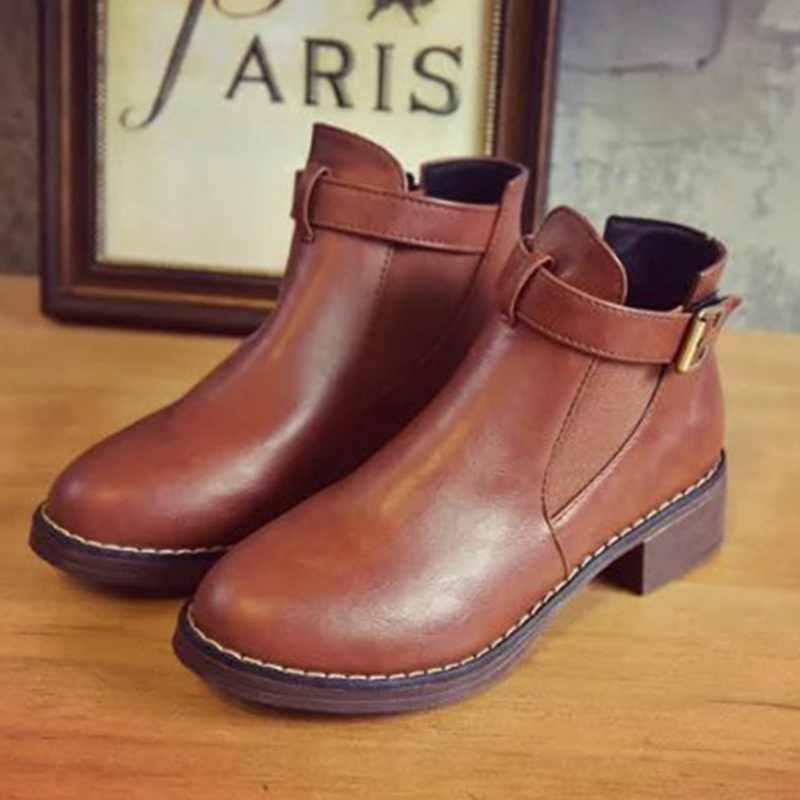 Womens Ankle  Boots 2019 Autumn Female Casual Shoes Woman Flat Fashion Platform Round Toe Buckle Strap Solid Comfortable