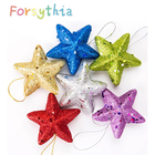 FORSYTHIA 6PCS Christmas Decoration Christmas Tree Pendant Christmas Five-pointed Star With Gold Powder Decoration For Home