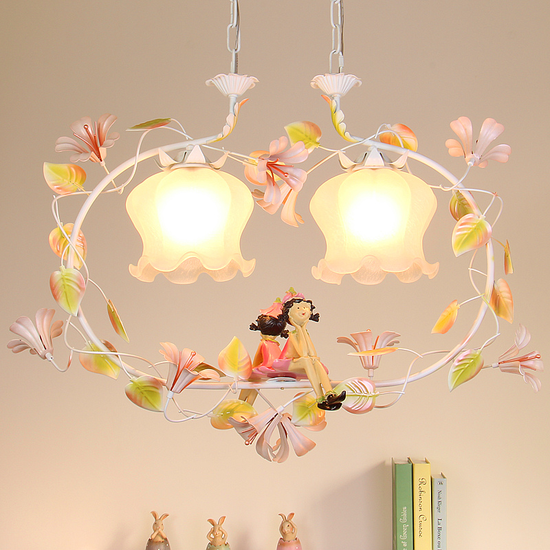 Pastoral Romantic Style Korean Wrought Iron Pendant Light Pink Rose Flower  Bedroom Dining Room Hanging Lighting Lamp