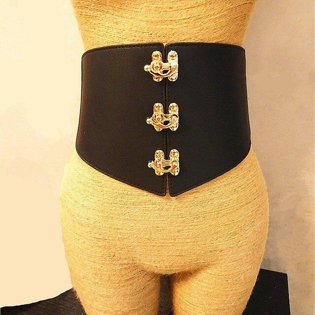 New Metal Miroir boucle Super large noir élastique ceintures pour les femmes  de haute qualité unique 85e9b6cf2a2
