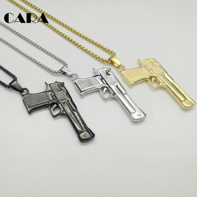 CARA New mens pendant necklace fashion 316L Stainless steel pistol gun necklace  mens jewelry accessasories gift fc144c970751