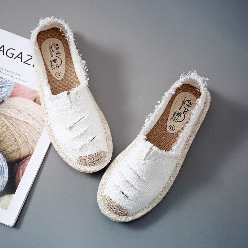 Женская обувь на плоской подошве; повседневные женские парусиновые Лоферы без застежки; дышащие эспадрильи; Новинка 2019 года; сезон весна осень|Обувь без каблука|   | АлиЭкспресс