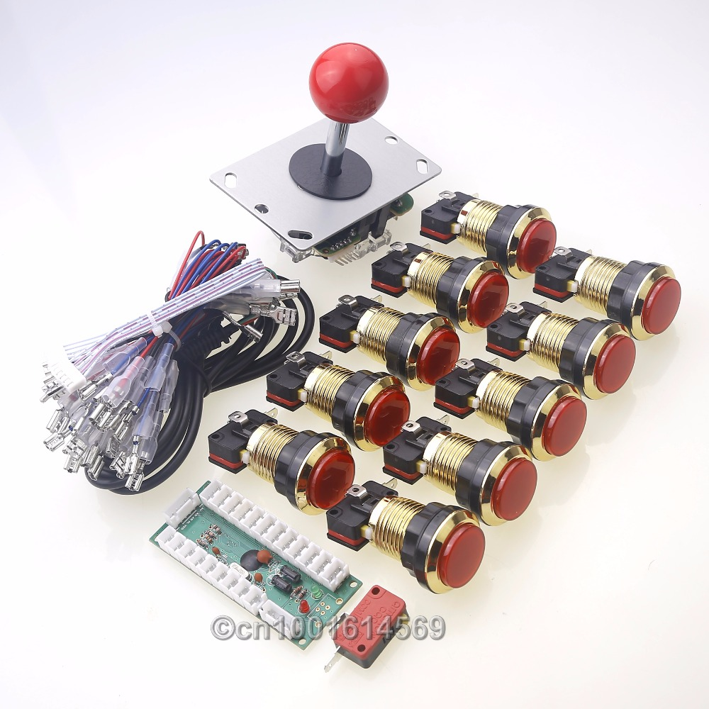 Arcade DIY Kits Parts USB Control Panel Handle To 5 pin 8 Way Joystick + 10 x 5V Chrome Gold Push Buttons & MAME Cabinet Games oem 30 x 30 diy 30x30cm
