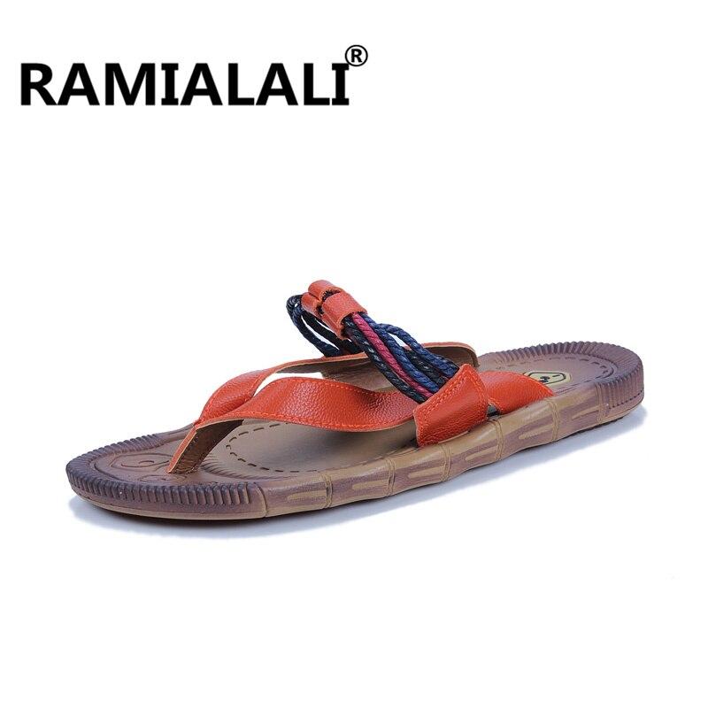 Ramialali/повседневные кожаные шлепанцы; мужские летние шлепанцы; Мужские Пляжные шлепанцы; Новинка; мужские летние крутые вьетнамки - Цвет: Оранжевый