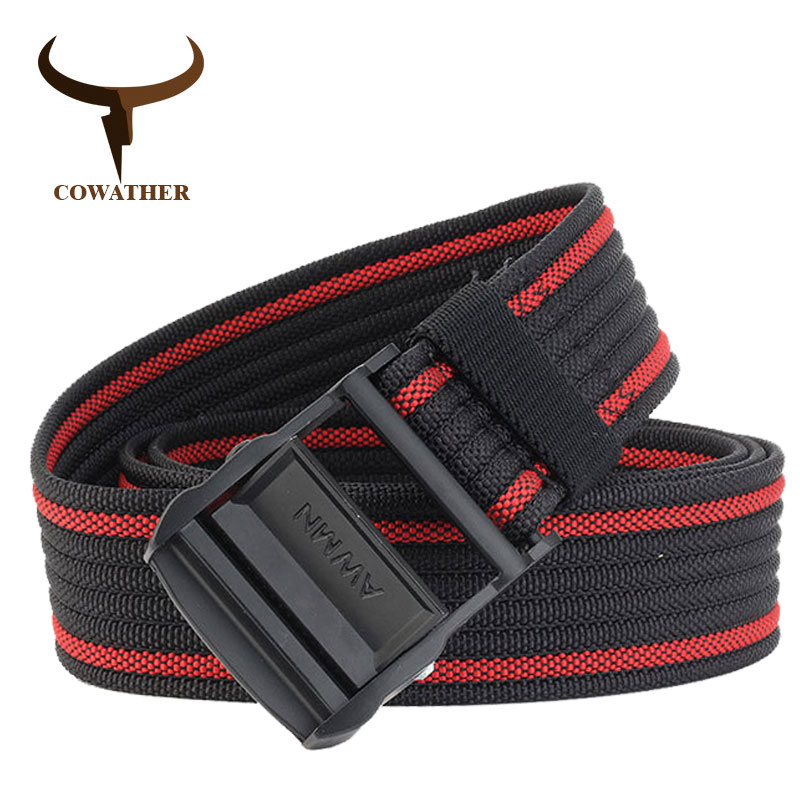 COWATHER casual men   belts   luxury nylon   belts   for men military outdoor tactical male strap fashion design buckle waistband NY012