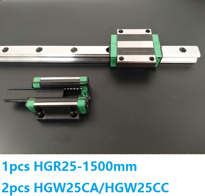 1pcs linear guide rail HGR25 1500mm + 2pcs HGW25CC/HGW25CA linear carriage blocks for CNC router parts Made in China noulei hgw25cc hgw25ca slide block with 1500mm linear guide rail hgr25 for cnc z axis hgw25 guia