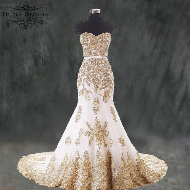 Vestido De Encaje Dress Bride Gold Lace Liques Mermaid Two Color Wedding