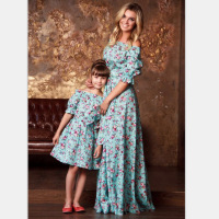 2019 PPXX Floral Girl Women Dress Princess Wedding Gown Party Mother Daughter Dresses Family Matching Cloth Family Look Big Size
