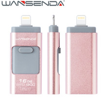 2pcs/lot Wansenda 3 in 1 OTG 3.0 USB Flash Drive high speed pen drive for iPhone /ipad/ Android usb stick flash drive pendrive
