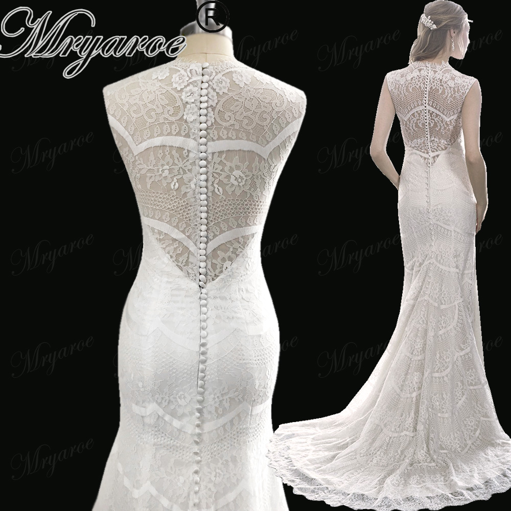 Mryarce 2018 vestido de noiva Amazing Lace Mermaid Wedding Dress V Neck Sleeveless Buttons Back Bridal
