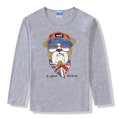 English Bulldog Cartoon Dog Children T-Shirt Boys Funny Long Sleeve Fashion Custom Basic Shirt Spring&Autumn All-match Tshirts