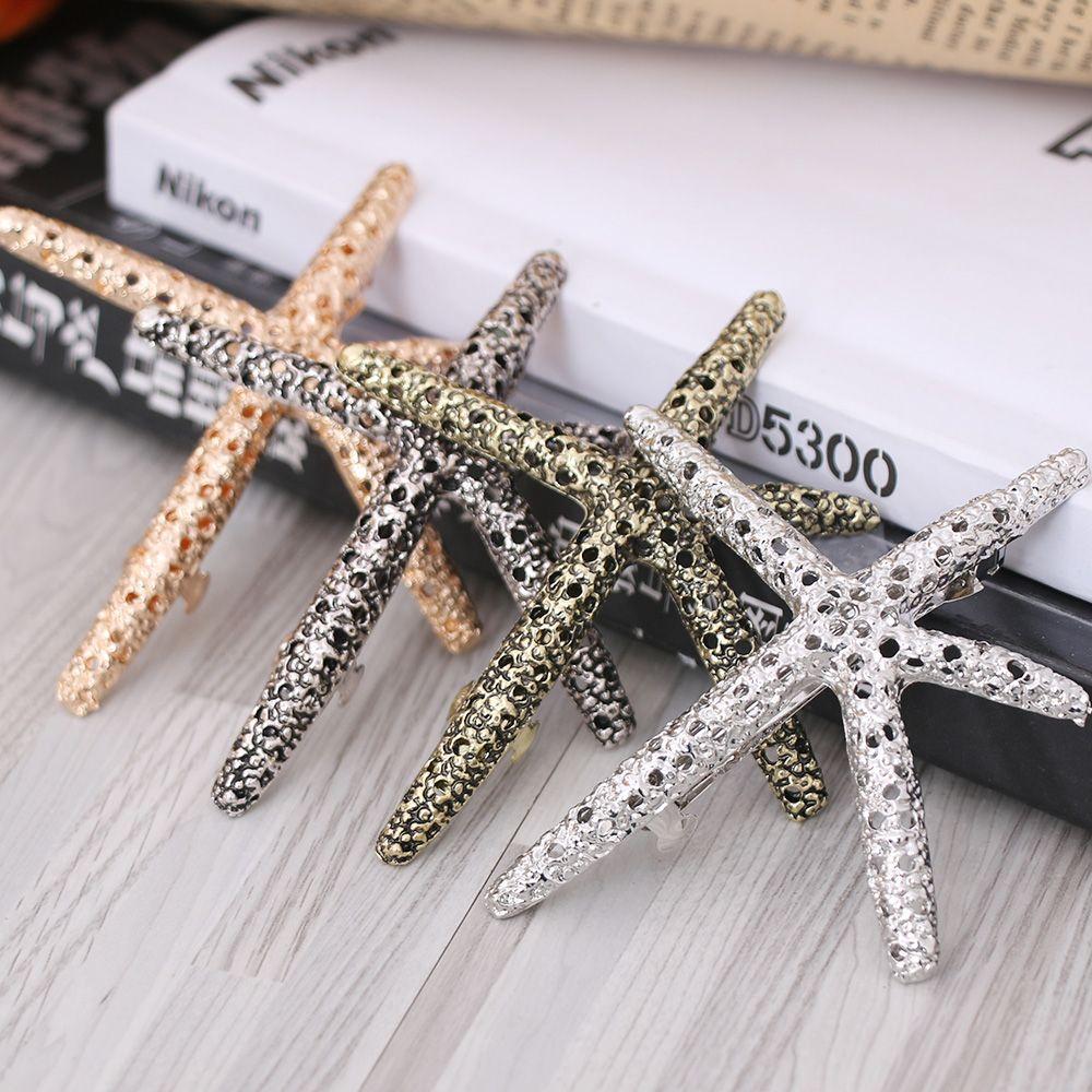 Moda feminina praia coral starfish clipe de cabelo barrette estrela forma grampos de cabelo feminino barrettes estilo de cabelo acessórios dropshippin