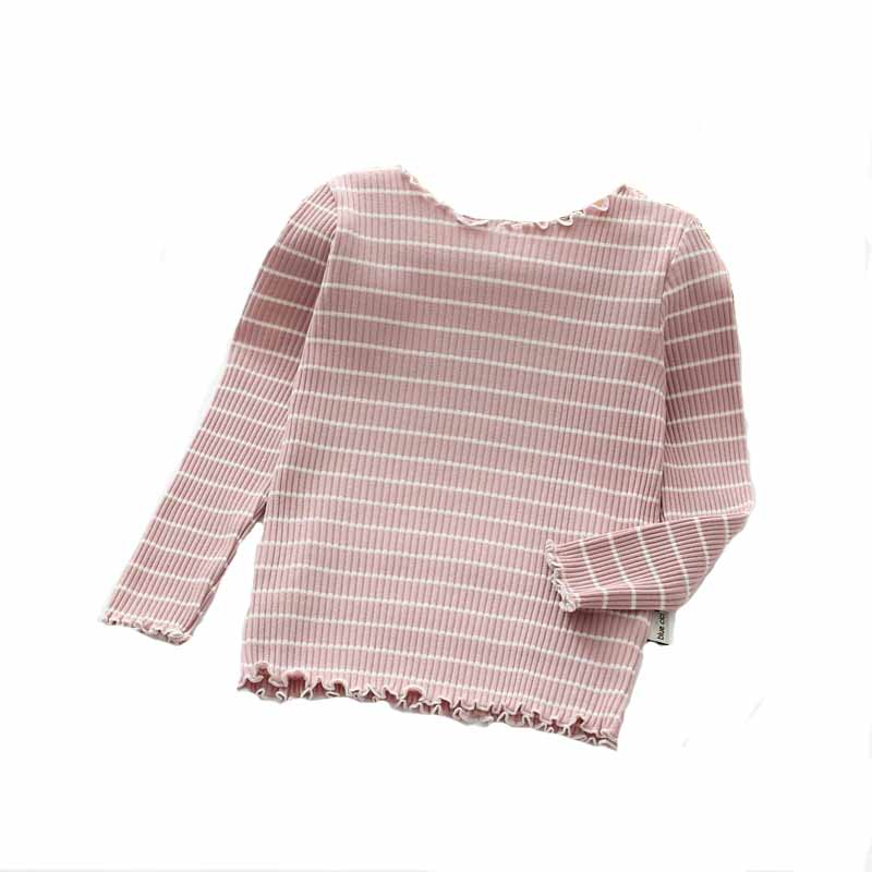 Spring&Autumn Children's Clothing Girls Cotton Shirt Bottoming Shirt Children's Cotton Long-Sleeved Striped Shirt Baby Shirt