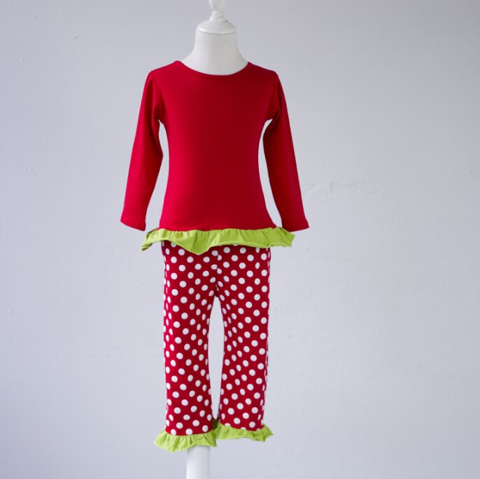 newborn baby girl clothes ruffle pajamas kids Red dot pants christmas style colorful baby sleepwear facotry Wholesale