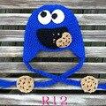 Hotspot NOVO! Chapéu do bebê de crochê, feitos À Mão Do Bebê Azul Cookie Monster cap Earflap Frete grátis