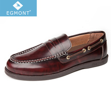 Egmont EG-89 Spring Summer Boat Shoes Mens Casual Loafers Genuine Leather Patent Solid Handmade Comfortable Breathable