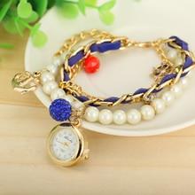 2015 nuevas mujeres de la manera de lujo compacto reloj femenino, placa de acero inoxidable, pulsera de perlas de cristal marca de relojes