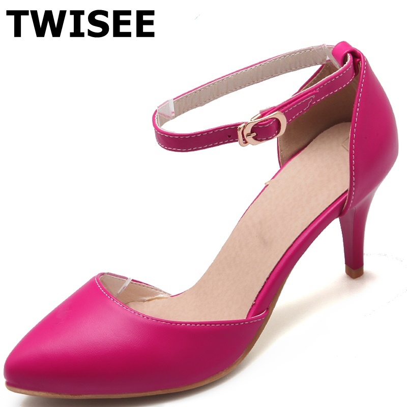 ФОТО TWISEE Spike Heels 5.5 cm summer sandals pu leather Buckle Strap Ladies shoes woman sandals Novelty woman casual shoes