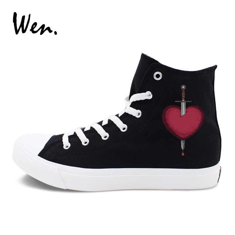 Wen Klassieke Zwart Wit Originele Schoenen Ontwerp Zwaard Ging Door Hart Hoge Top Canvas Unisex Sneakers Skateboarden Gymschoenen