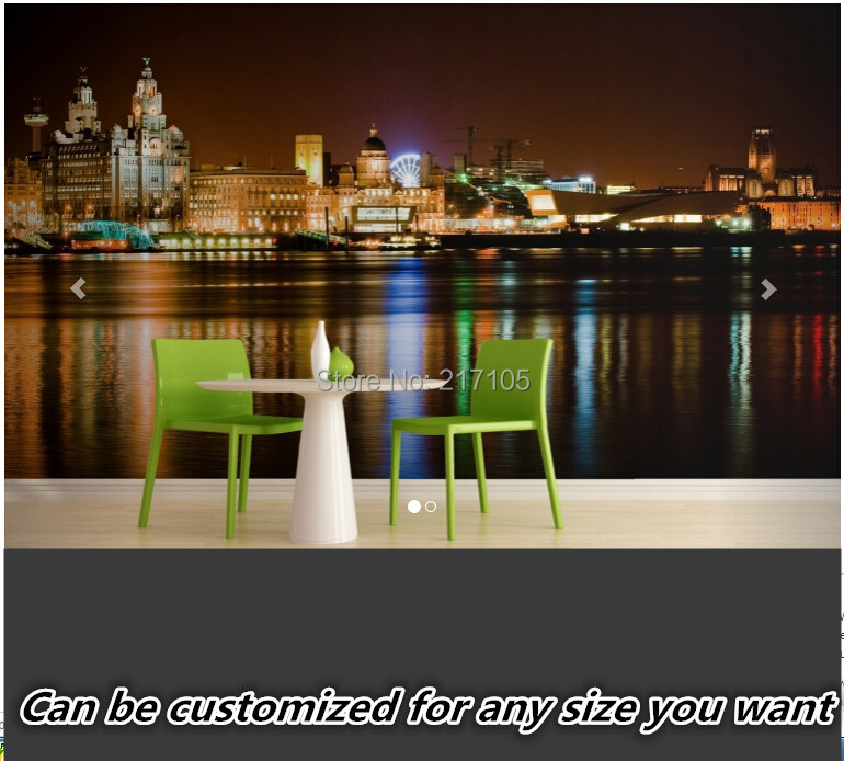 Custom 3D stereoscopic Liverpool city night wallpaper for home decor living room room TV backdrop waterproof vinyl wallpaper custom baby wallpaper snow white and the seven dwarfs bedroom for the children s room mural backdrop stereoscopic 3d