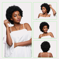 KISSMEE Short Curly Human Hair Wigs Afro Kinky Curly Wig For Black Women 100% Human Remy Brazilian Hair 6 Inches Wig #1B