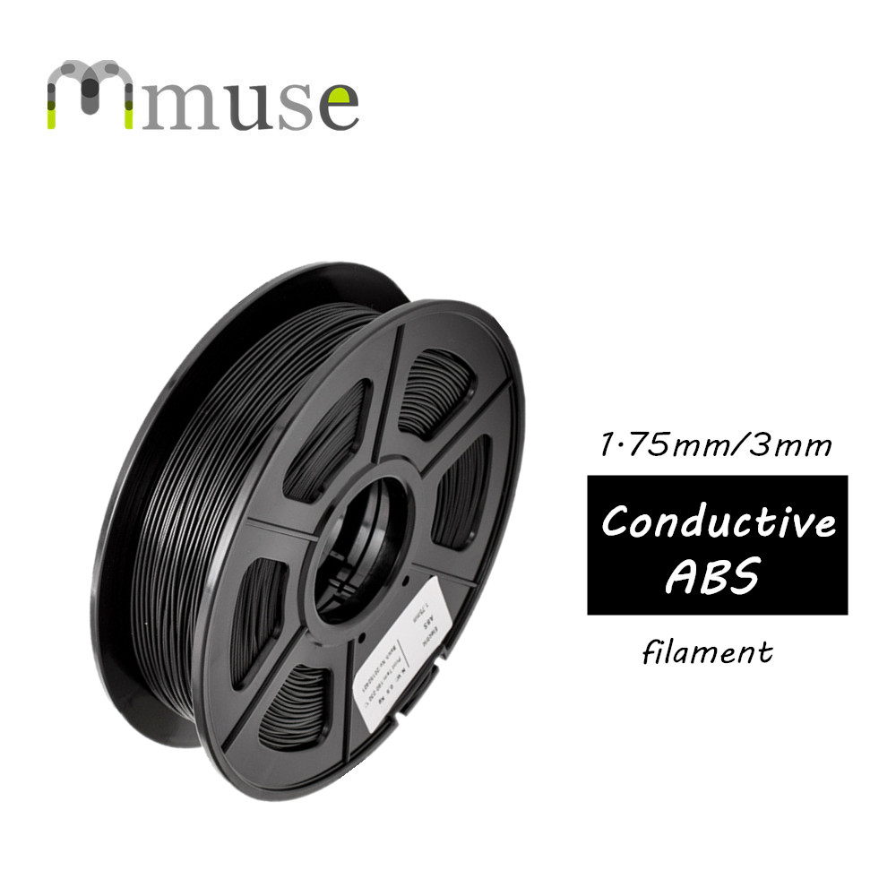 Black Plastic Material 0.5kg/Roll 1.75mm 3mm Conductive ABS Filament For 3D Printer createbot multicolors abs filament plastic material