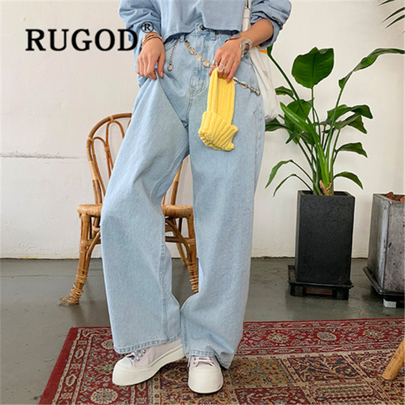 RUGOD 2019 New Arrival  Loose High Waist Slim Jeans Woman Korean Version Casual Wide Leg Light Blue Jeans