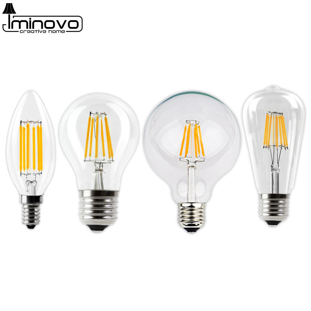 LED Filament Bulb E27  E14 Vintage Edison Lamp 220 Retro Candle Light Globe Chandelier Lighting COB Home Decor Energy Saving 1pcs e27 t80 led energy saving lamp light bulb velas led decorativas home lighting decoration 40w ac85 265v led lamp