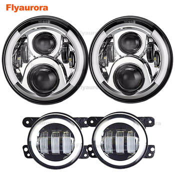 Flyaurora forJeep Wrangler JK TJ 7Inch H4 Projector Headlamp with 4Inch Round Led Fog Lights 30W and LED Replacement Brake Light