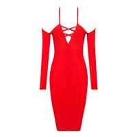 Présent du jour de valentine livraison gratuite hot nouvelle mode 2016 femmes robes rouge bandage dress bretelles spaghetti et à manches longues