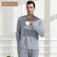 Modal Lovers Sleepwear O Neck Casual Stripe Long Sleeve Length Pants Plus Size Lounge Twinset