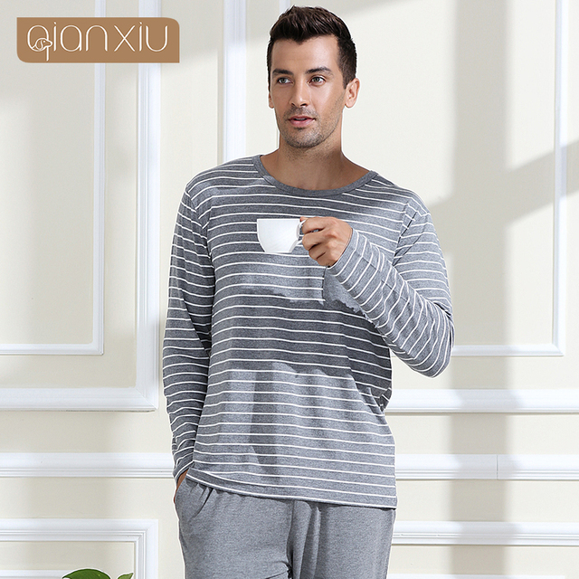 db1272e7a2 Qianxiu Pajamas Modal Sleepwear O-neck Casual Stripe Lounge Wear Plus size  Pajamas Set