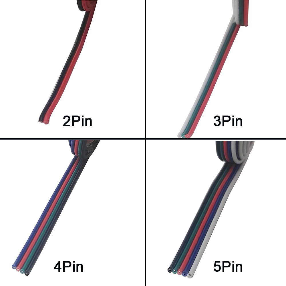 2pin <font><b>3pin</b></font> 4pin 5pin <font><b>Wires</b></font> Lighting Accessories for Single Color / RGB / RGBW WS2812 WS2801 LED Strip Connection 22AWG,1m/lot image