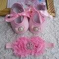 2015 новая девушка младенческой тиара детские обуви розово-черный малыш обувь для ходьбы ; девушки крещения обуви ; малыша обувь повязки устанавливает, Детские moccs