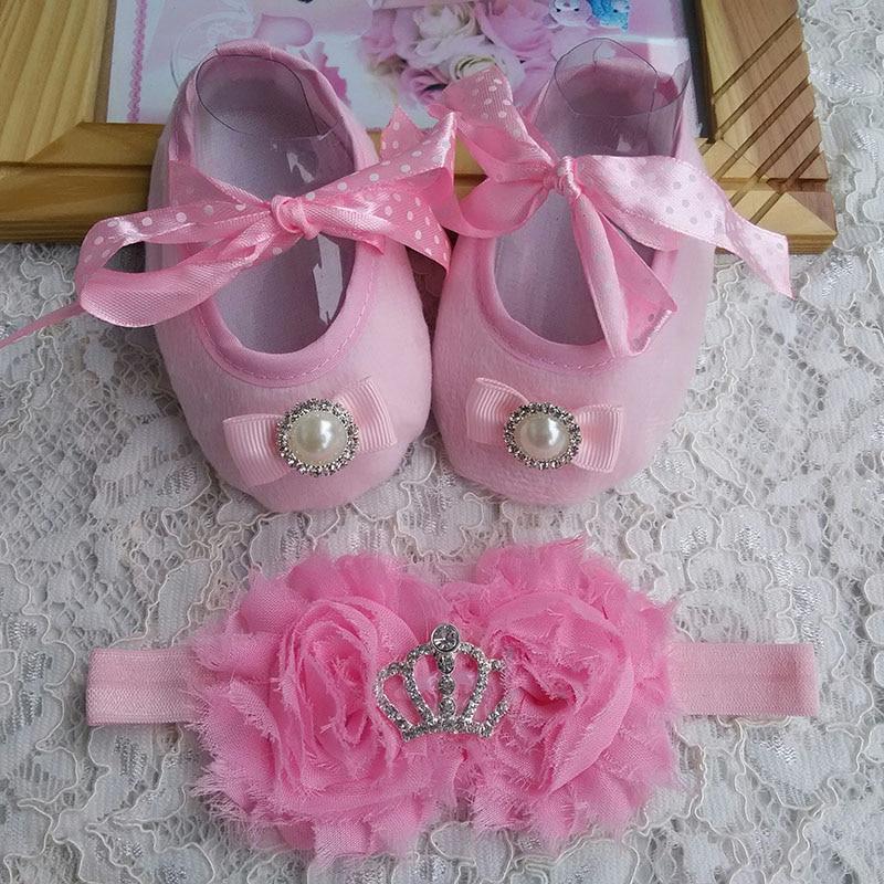 2015 új lány csecsemő tiara baba cipő rózsaszín kisgyermek séta cipő, lányok keresztelő cipő, kisgyermek cipő fejpántok készlet, csecsemő moccs
