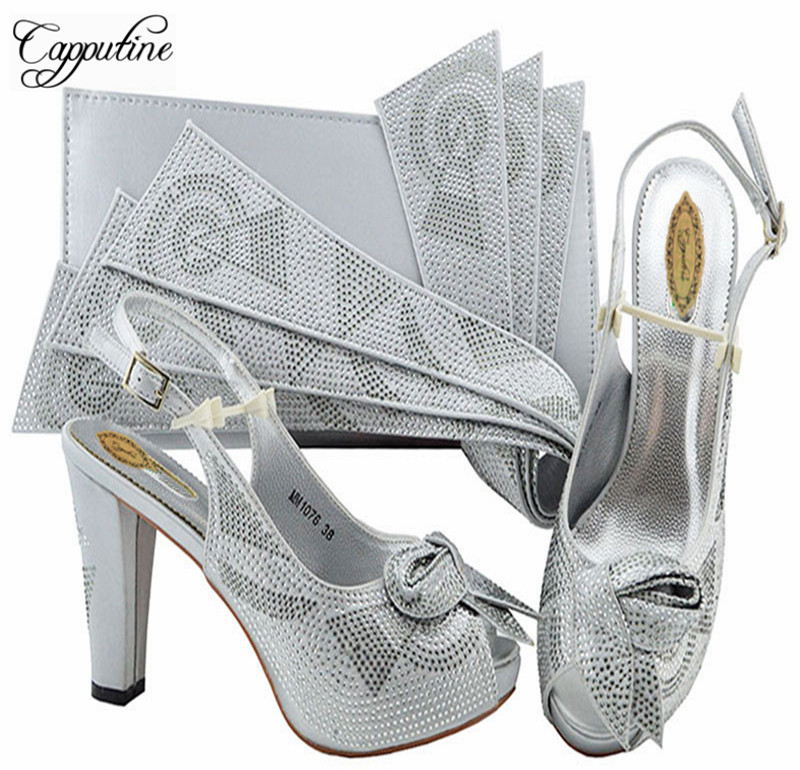 Capputine New Design Italian Shoe With Matching Bag Fashion Pretty Italy Shoes And Bag To Match African Women Shoes For Party doershow shoe and bag to match italian african shoe and bag sets women shoe and bag to match for parties african shoe htx1 18