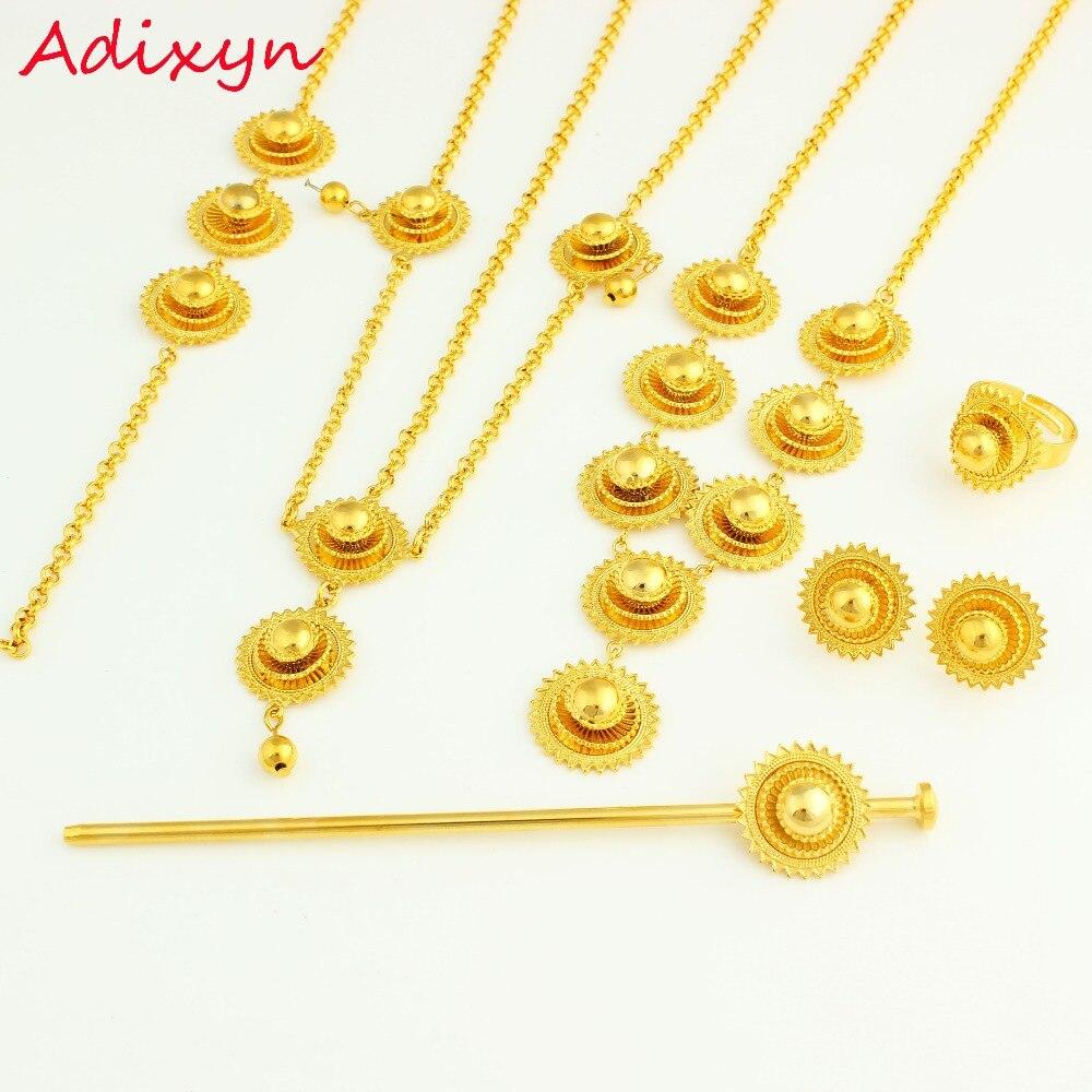 f60e9e0019 Tamaño pequeño romántico etíope joyería Sets oro color moda joyería  Africana boda Sets para las mujeres