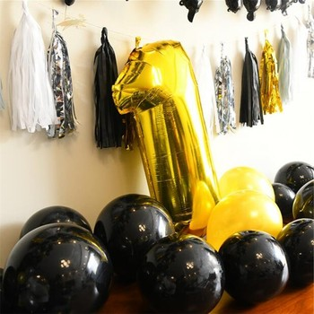 Latex Free Balloons | Gold Black Baloons Decoration Birthday Party Baby Baby Shower Boy Air Ballon Inflatable Helium Balloon Wedding Supplies Kids Toy