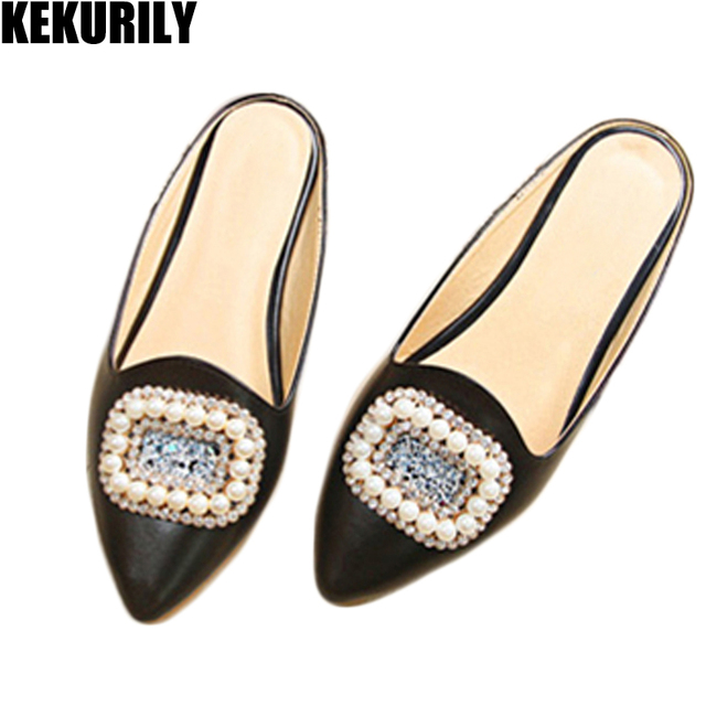 cedb15348f88 Shoes woman pointed toe slides peral mules ladies metal decoration slippers  Comfortable sandals big size apricot white black