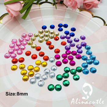 140pc 8mm gems diament mieszkanie powrót mieszkanie powrót okrągłe kryształy kamień naklejki gem DIY rękodzieło rzemiosło Scrapbooking kryształy tanie i dobre opinie 19041605 arcycle